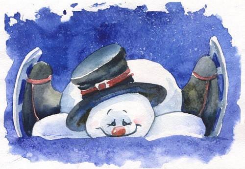 Снеговик, акварель Марины Трушниковой