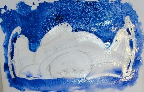 Делаем набрызг, рисуя снеговика