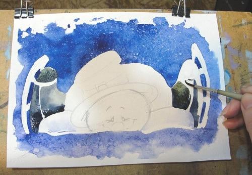 Снеговик - порисовка деталей