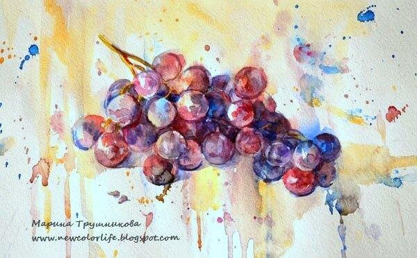 виноград, набрызг, акварель