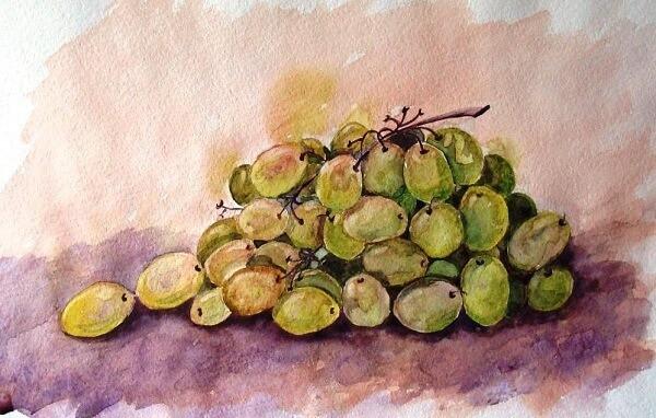 пишем гроздь винограда акварелью