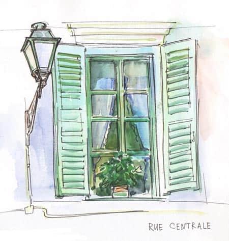 окно, акварельная зарисовка, Марина Трушникова